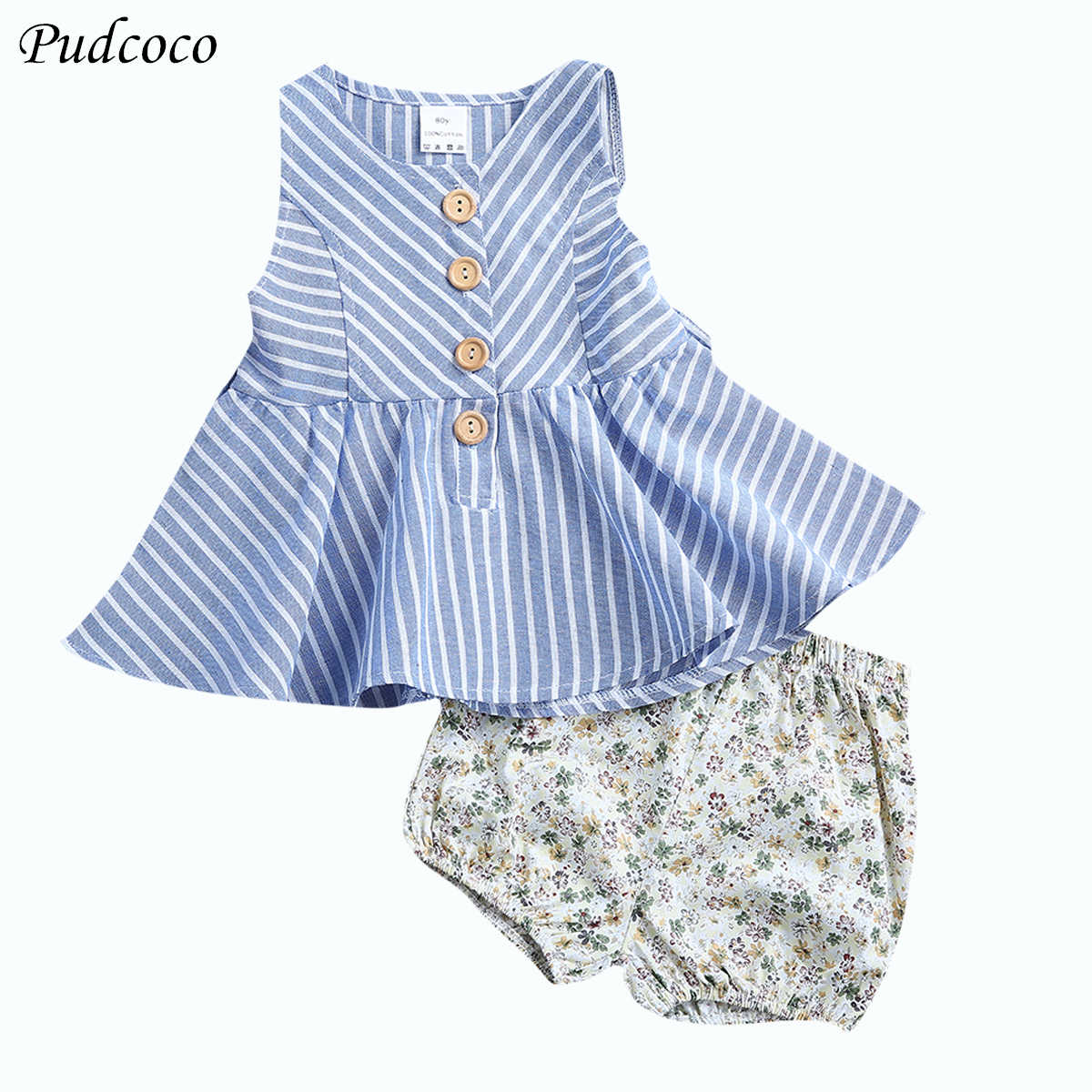 2Pcs Striped set baby clothes Toddler Newborn Baby Girl Tops +Floral shorts Outfit set Girls Clothing