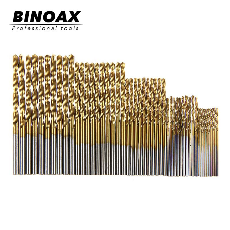 50Pcs 1/1.5/2/2.5/3mm Titanium Coated HSS Drill Bit Set Tool