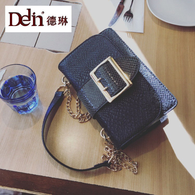 DELIN 2017 new female bag Han Guodong door serpentine small party bags fashionable joker one shoulder worn handbag chain bag