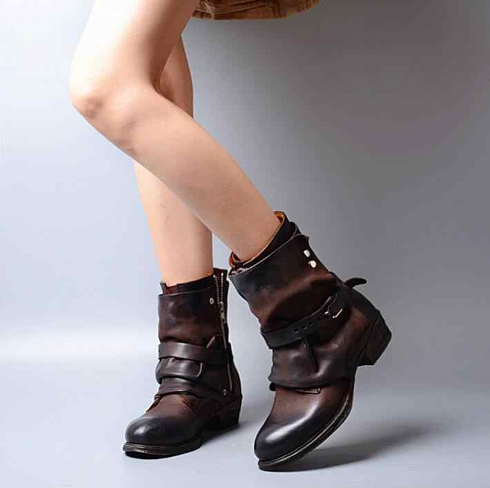 Prova Perfetto נעלי נשים אבזם מגפי קרסול אופנוע קצר Chivalrousness דירות נשים נעלי עור אמיתיים מגפיים הצבאיים