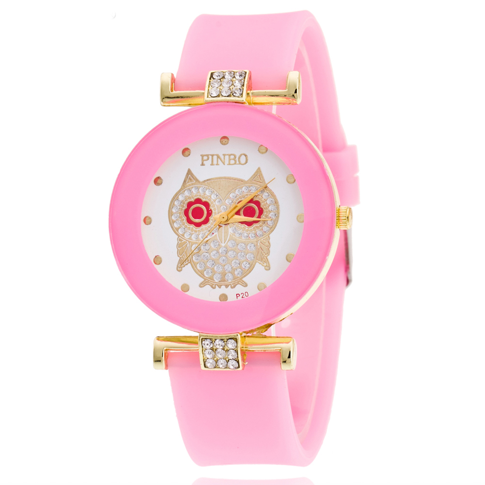 2020 Fashion Wristwatches Brand Gold Dial Cute Owl Men Women Watch Silicone Quartz Casual Dress Watches Kids Wristwatches