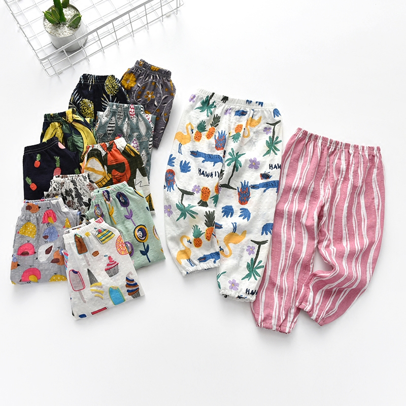 Childrens spring summer girls Wide leg pineapple pants girl Mosquito-proof pants many kinds 18102 TB02