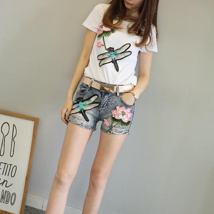 QA1200 Fashion cartoon embroidery sequin high-end girls summer   short   femme elastic denim   shorts   women