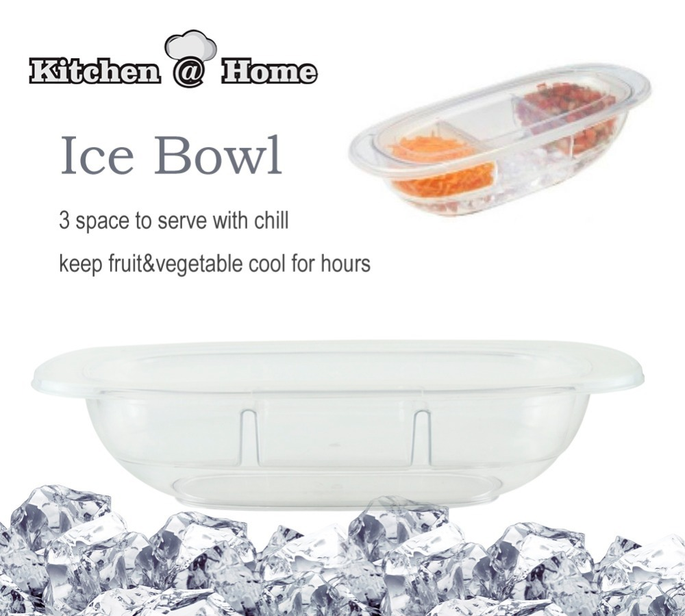 Chilled Condiment Server with 3 Cells Containers Transparent Keep Fruit Veggie Fresh Party Preserving Storage Box Bin With Lid