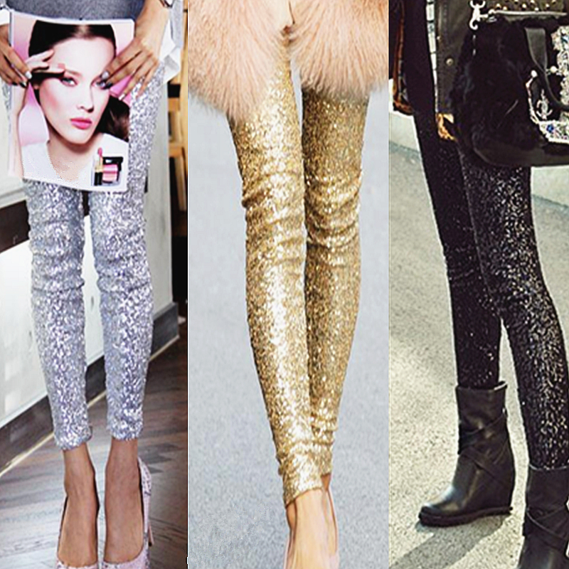 Women Punk Bling Trousers Shining Gold Black Silver Sequins Leggings Fashion Streetwear Feminina Slim Thin Buttock Leggins