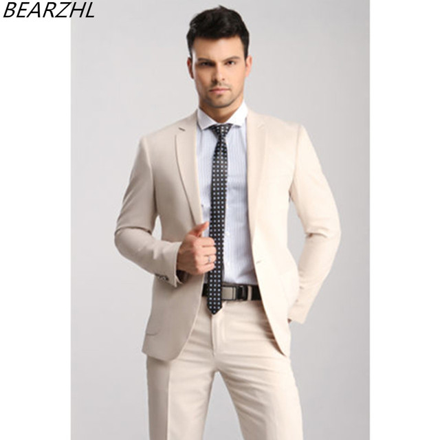men designer suits for groom tuxedo beige custom made suit prom ...