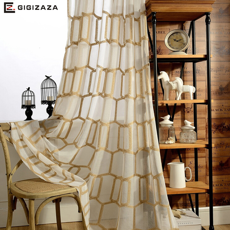 New Honeycomb Embroidery Voile Window Curtains Panels Gold Color Geometric Sheer Tulle Process Custom Size For Living Room
