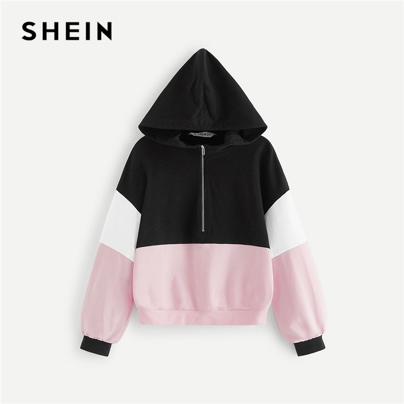 SHEIN Kiddie Half Placket Zipper Colorblock Hoodie Sweatshirts For Girls Tops 2019 Active Wear Long Sleeve Pullover Kids Clothes