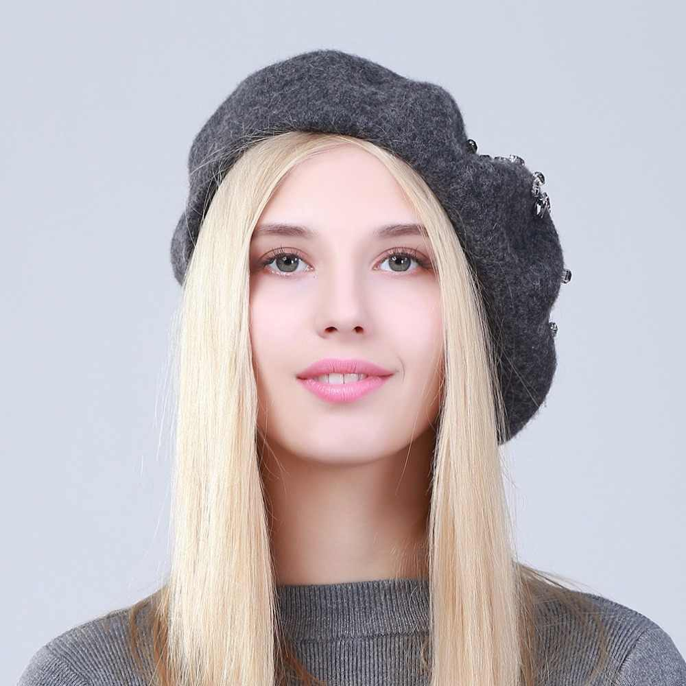 9e9417c85c20e ... Geebro Women s Beret Hat Fashion Solid Black Wool Knitted Berets With Rhinestones  Ladies French Artist Knit ...