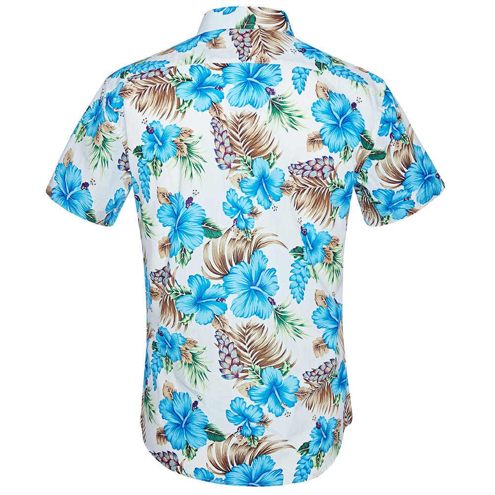 Мужские цветочные повседневные рубашки с коротким рукавом и пуговицами 2018 Новые летние пляжные вечерние Мужская гавайская рубашка мужские рубашки