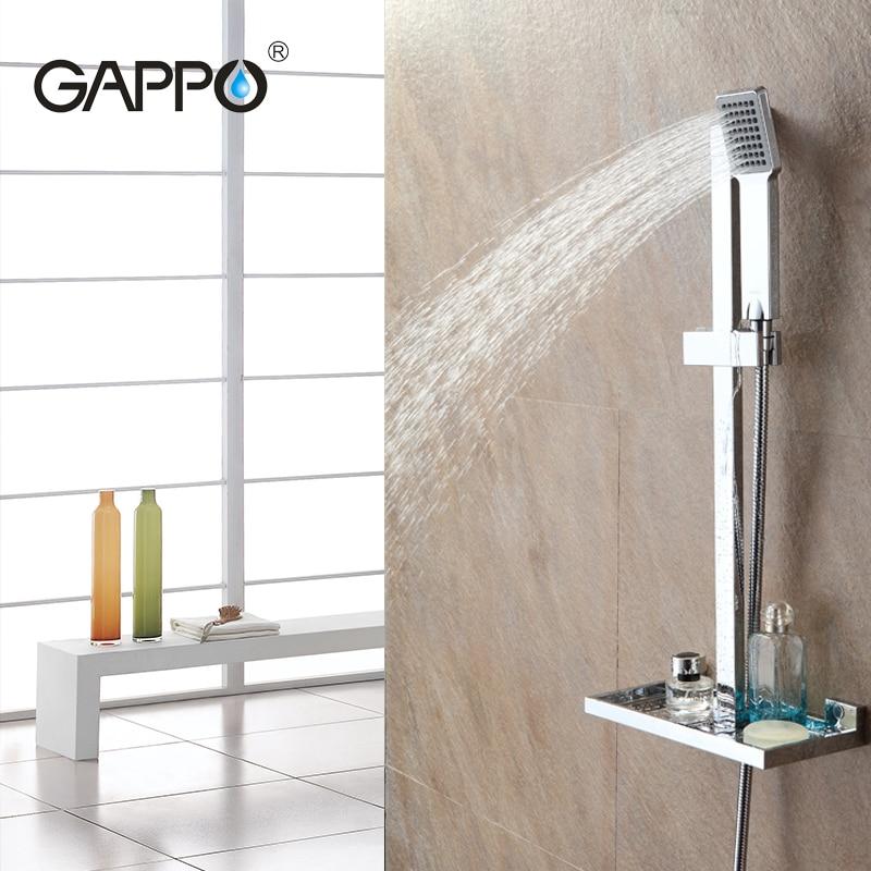 цены GAPPO bathroom Shower Slide Bar shower faucet mixer taps sliding shower bar Soap Dish holder bath shower ABS Chrome GA8010