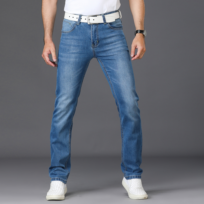 Men Washed Denim Jeans Casual Straight Denim for Men Brand Male Classic Jeans Pants Men Business Trousers