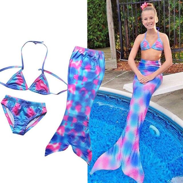 mejor servicio 25248 6daf4 € 5.71 7% de DESCUENTO|Las niñas sirena nadar cola monoaleta Bikini traje  de 3 piezas conjuntos en set de ropa de Madre y niños en AliExpress.com |  ...