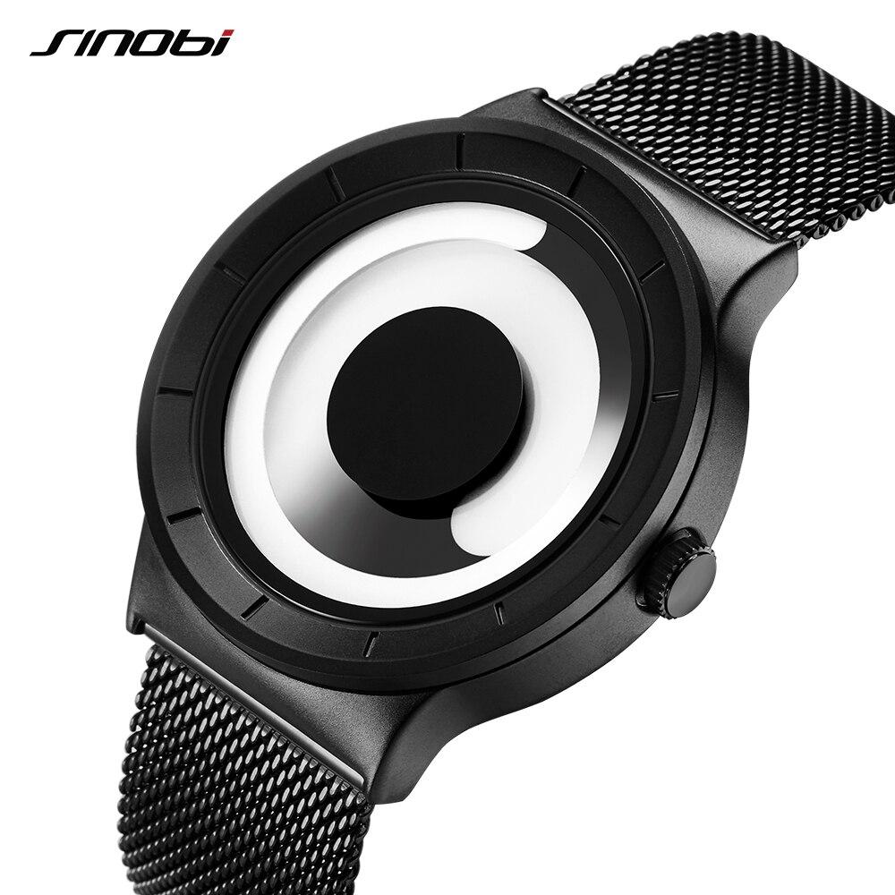 SINOBI Mens Wrist Watch Unique Vortex Concept Watch Men Stainless Steel Milan Band Sport Black Male Wrist Watches Clock Man