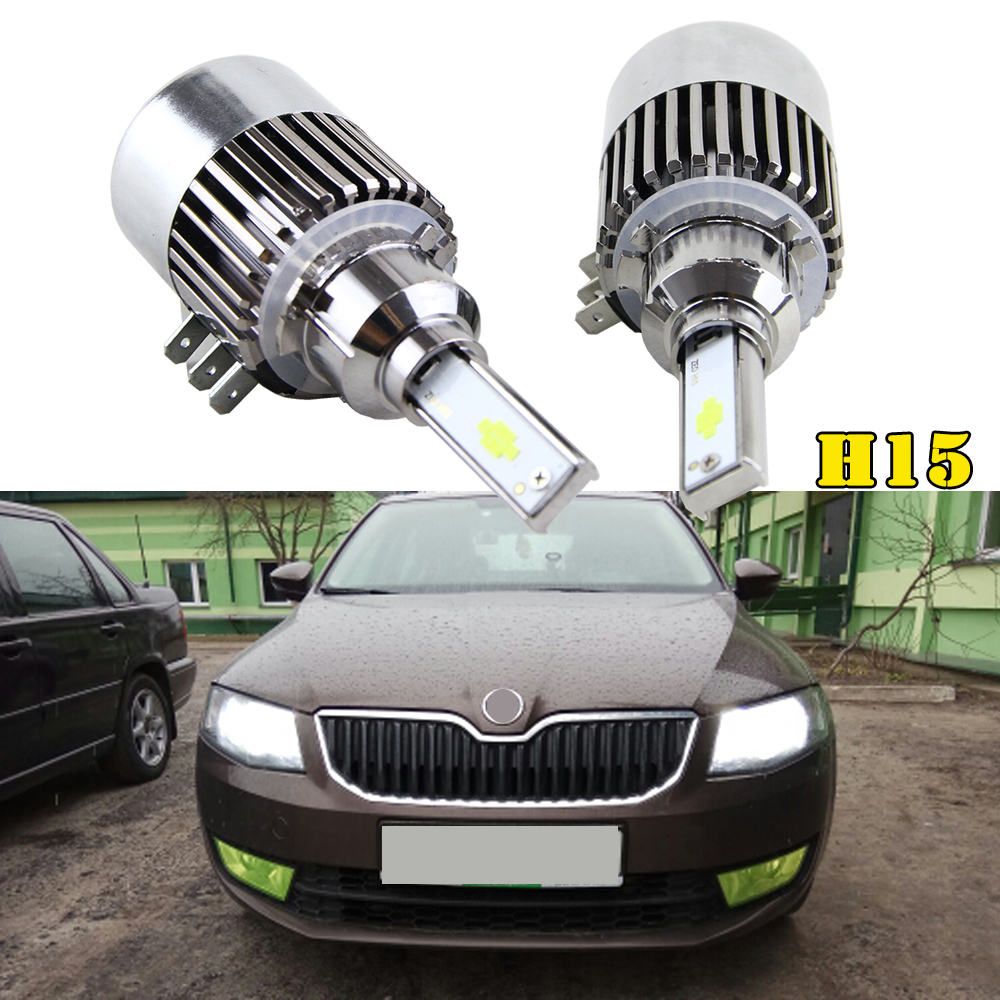 2x H15 72W 7600Lm Wireless Led Car Headlight Lamp Conversion Kit Driving Bulb For Vw Audi BMW Golf 7 DRL Car Light Sourcing