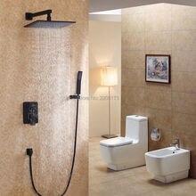Smesiteli Faucet Direct Unique Design 10″ Wall Mounted Black Rain Shower Head & Handheld Shower Valve Set Solid Brass Shower Kit