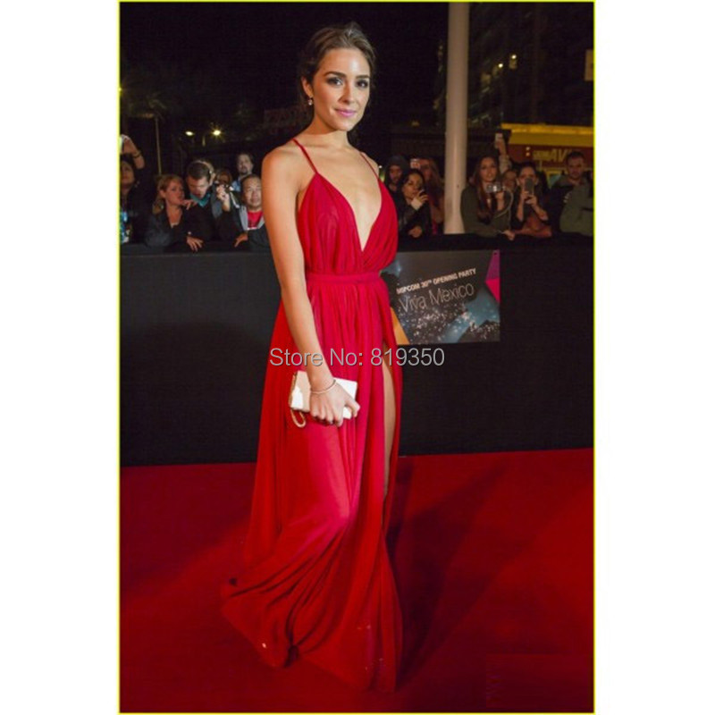 b806dc4273ae Hot Sexy Red Prom Dresses Deep V Neck Criss Cross Back High Slit Side  Chiffon Wedding Party Gowns Cheap Celebrity Gowns -in Prom Dresses from  Weddings ...