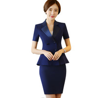 Office Skirt Suit Women Pencil Slim OL Style Short Sleeve Ruffled Summer Work Wear Business Career Blazer & Skirt Set 2017 New