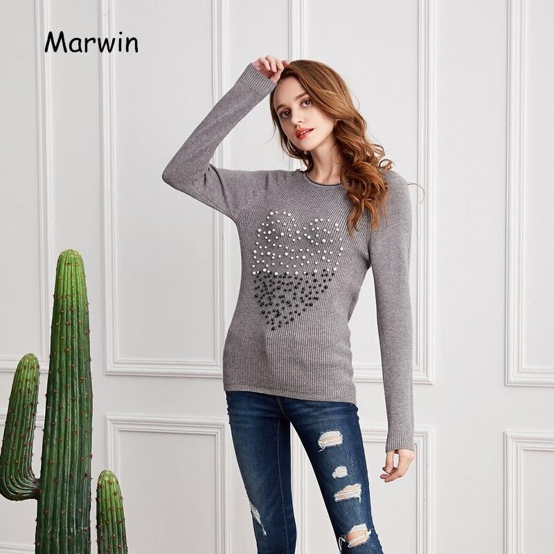 Женские вязаные свитера Marwin, повседневные плотные свитера с круглым вырезом и бусинами на осень и зиму, 2018