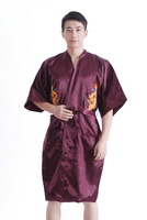 Chinese Men's Satin Silk Robe Embroidery Kimono Bath Gown Dragon Pajamas Male Long Homeware Sleepwear Bathrobe Nightwear 17