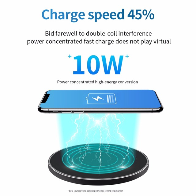 WLMLBU 10W Qi Wireless Charger for iPhone X/8 Visible Fast Wireless Charging pad for Samsung S9/S9+ S8 Note 9 9+ 8 Xiaomi Huawei 2