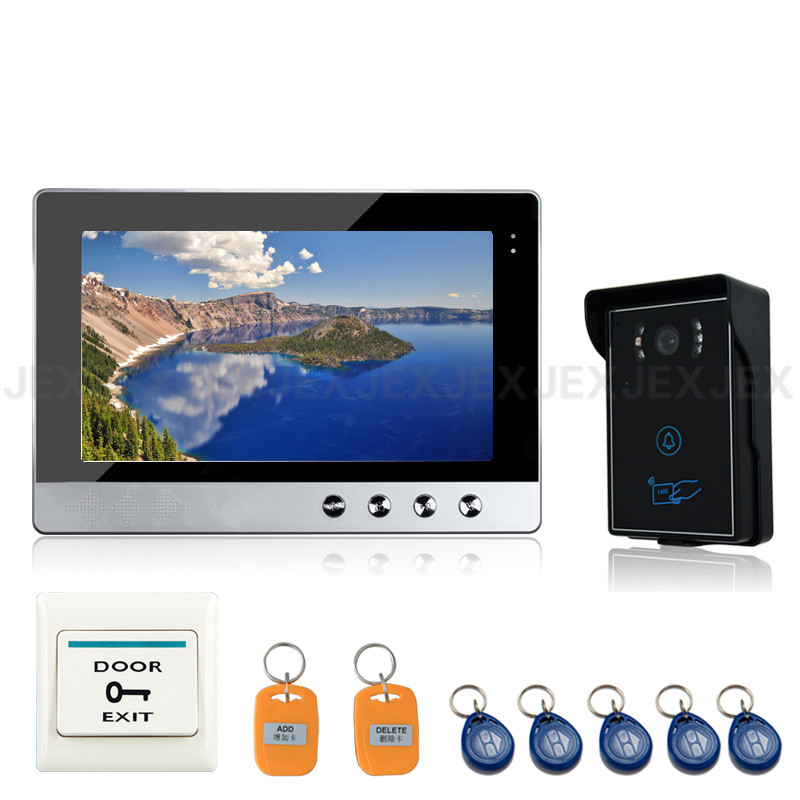 JEX 10 дюймов Цвет видео-дверной звонок динамик телефона домофон комплект 1 монитор + Водонепроницаемый RFID контроля доступа COMS Камера