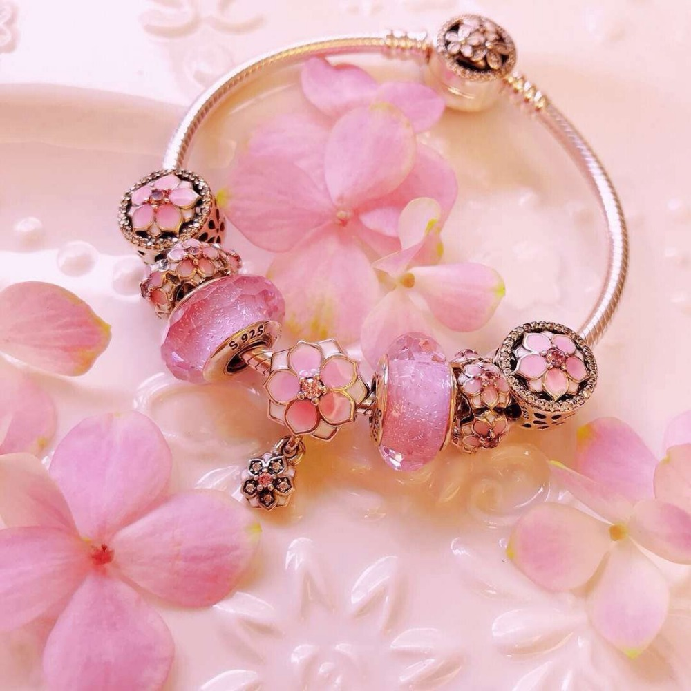 100% Pure Silver Original Copy 1:1 High Quality New Meihua Pink Bracelet Series Factory Direct Batch Free Postage100% Pure Silver Original Copy 1:1 High Quality New Meihua Pink Bracelet Series Factory Direct Batch Free Postage