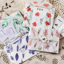 3 Pcs/lot Kawaii Four Seasons Sulfuric Acid Paper Envelopes 4 Selection Oil Painting Postcard Invitation Letter Card