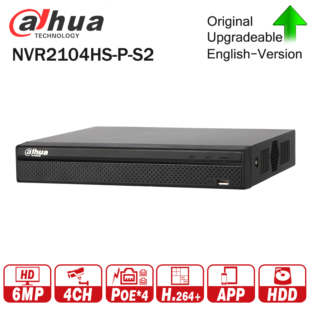 Dahua NVR2104HS-P-S2 4 Channel POE NVR Compact 1U 4PoE N Full HD Network Video Recorder 6MP Recording HDD Selectable dahua 4ch 8ch smart 1u nvr with p2p function dahua mini nvr with 4poe nvr1104 p nvr1108 p
