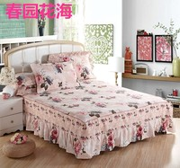 100% cotton bedspread bed skirt mattress protective case cover print BEDSKIRT ONE PIECE free shipping