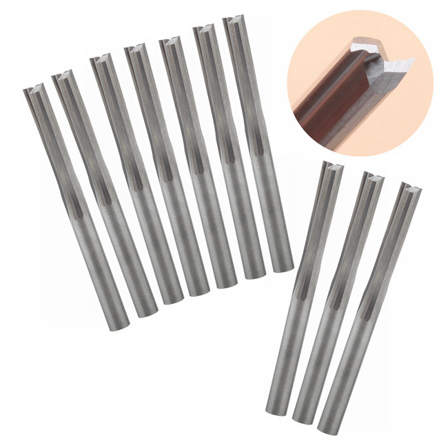 10 pieces 3.175 mm 22 mm two flutes straight slot end mill CNC two dimension cutting tools router bit