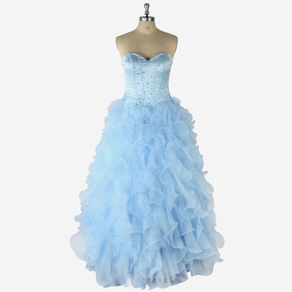 2017 Sexy Sky Blue Natural Waist Sleeveless Sweetheart Beading Lace Up Ball Gown Floor-Length Organza   Prom     Dress