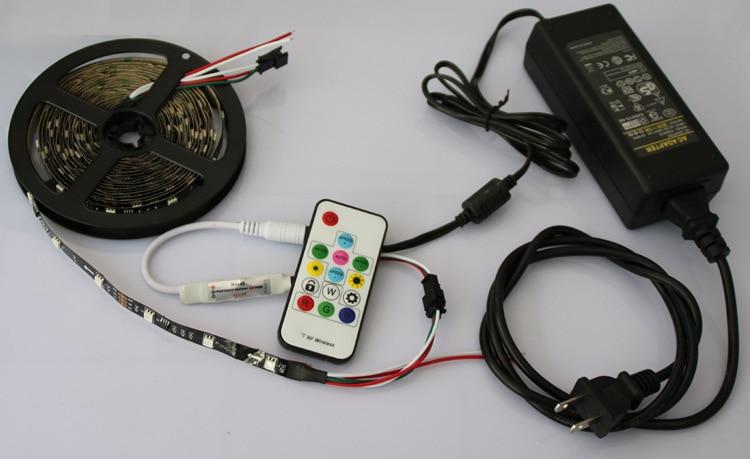 5 M DC12V WS2811 IC SMD5050 LED bande 30 LED s/M WS2811 IC Pixel lumières avec couleur de rêve avec télécommande et pilote