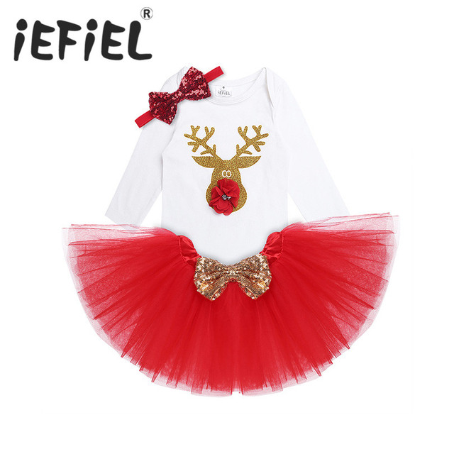 iEFiEL Newborn Baby Girls First Christmas Outfit Reindeer Romper with Tutu Skirt Toddler Baby Christmas Rompers Outfits Costumes
