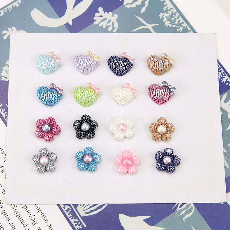 10 Pcs Korean Style small flowers love resin patch Statement Earrings For Women hair DIY ear handmade jewelry accessories in Drop Earrings from Jewelry Accessories