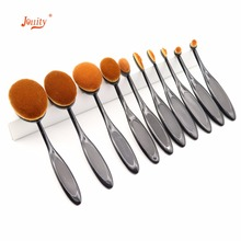 jollity 10pcs Makeup Brushes Set  Nylon Toothbrush Shaped Oval Make Up Brushes Set Soft Foundation Powder Eye Shadow Lip Brushs