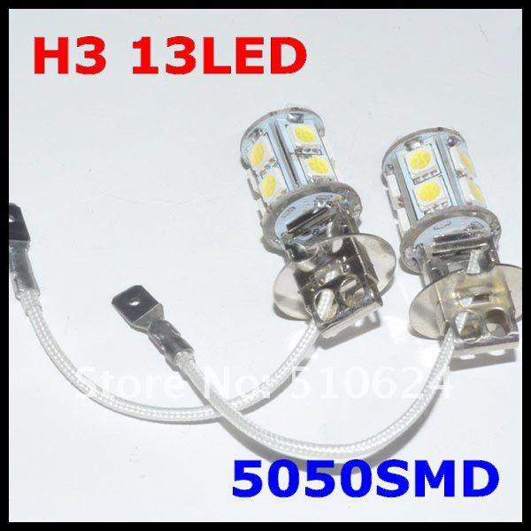 Автомобильный противотуманный фонарь H3 13SMD 5050 светодиодный Белый h3 светодиодный лампы для передних фар противотуманная лампа задний фонарь