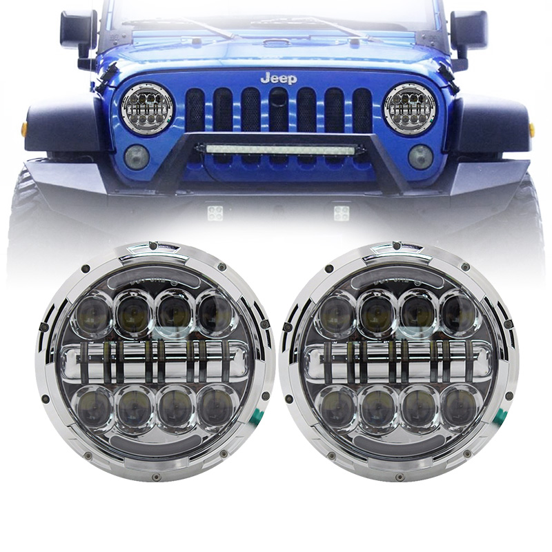 80W 7 inch Round LED Headlight Bulb for Jeep Wrangler JK Hummer H1 H2 Lada 4x4
