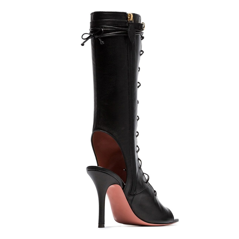 De Pie Dedo Del Zapatos Sexy Gran Tamaño Media Piel Negro Becerro Tacón Verano Black Mujer Botas Damas Sandalia Zapato Abierto Gladiador FqEqtcI