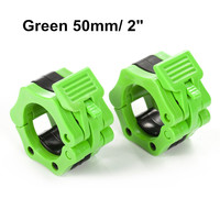 1 Pair 2 Olympic Spinlock Collars Barbell Collar Lock Dumbell Clips Clamp Weight lifting Bar Gym Fitness Body Building Green