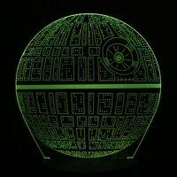 Creative 3D Novelty Light Star Wars Death Star 7 Colors Changing LED Lamp Home Desk Decoration