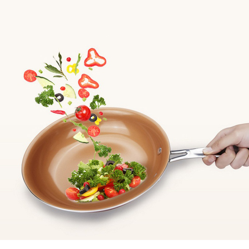 Home Iron Frying Pan Grill Non-stick Copper Frying Pan With Ceramic Coating Induction Cooking Oven Anti-hot Handle Frying Pan