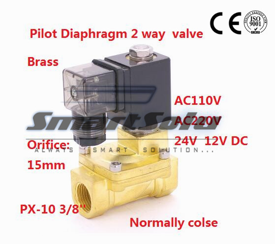 Free shipping Normally Closed 2 way Pilot Diaphragm water Brass Solenoid Valve 3/8 BSP 110V AC 15mm PX 10 NBR