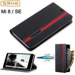 SRHE Pour Xiao mi mi 8 cas couverture Mi 8 se cas flip EN Cuir Couverture Arrière De Silicone Pour Xiao Mi mi 8 se MI 8 cas avec Porte-Cartes