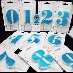 Image 2 - 1 Pc Extra Large Blue Shiny Birthday Number Candles 0 9 for Kids Adult Girls Boys Birthday Party Candles Cake Decorations