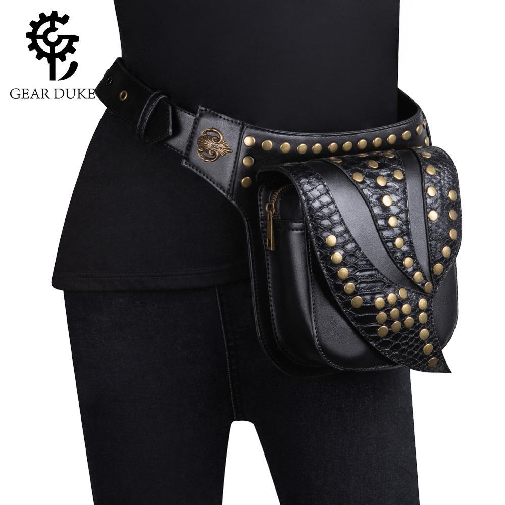 Gear Duke Vintage Steampunk Harley Rivet cuir taille sac femmes taille Pack Moto & Biker ceinture sac tactique