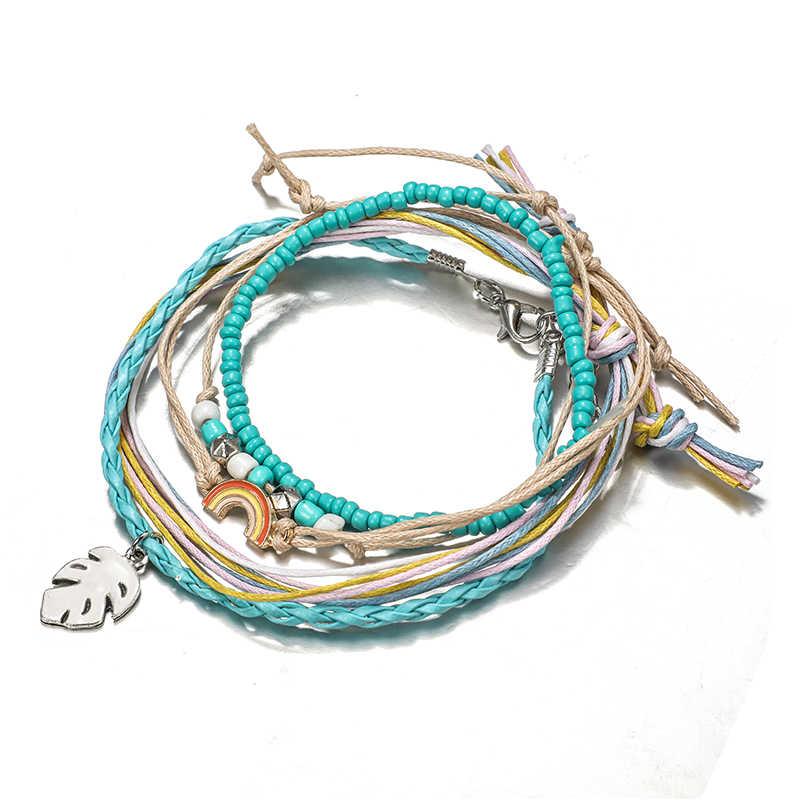 Docona חוף צבעוני מחרוזת עלה קשת צמיד סט לנשים Boho בעבודת יד כחול חרוזים מתכוונן צמיד צמיד סט 6931