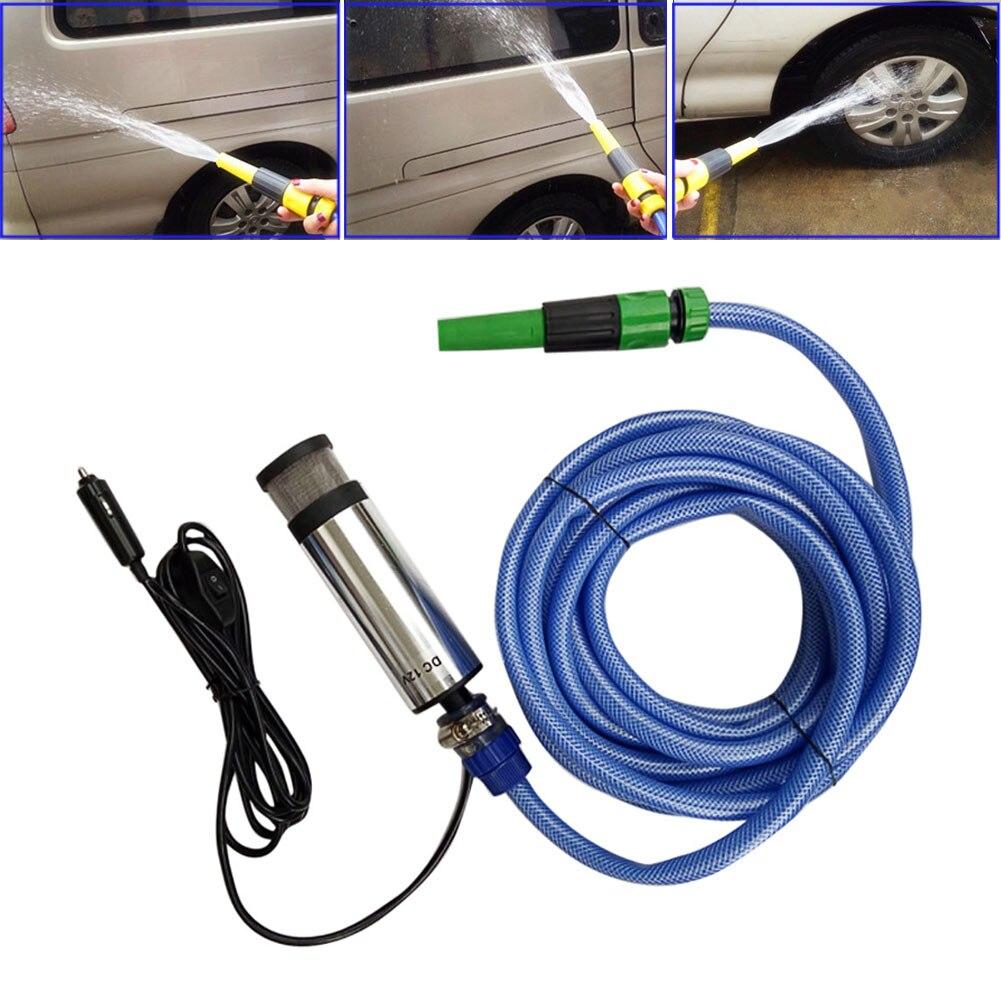 Portable DC 12V High Pressure Electric Car Washing Submersible Pump Water Gun Gardening Sprayer Car Cigarette Charger 75w dc electric air pump for car dc 12v
