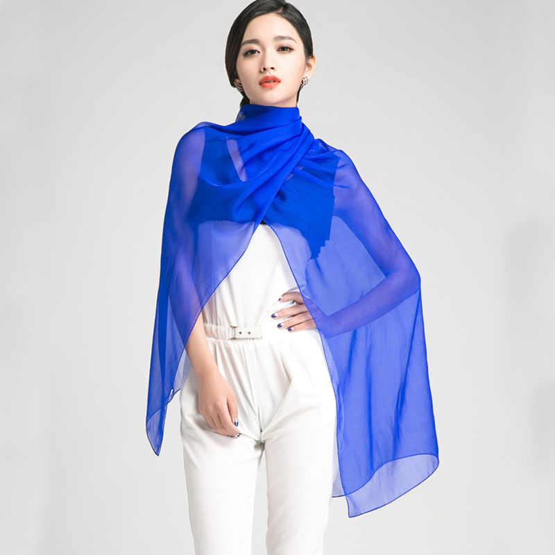 LESIDA 100% Silk Scarf Women Long Shawls And Wraps Ladies Luxury Brand Ponchos Cape Thin ...