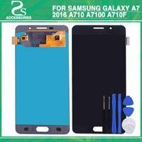 Оригинальный ЖК дисплей Сенсорный экран для Samsung Galaxy A7 2016 A710 A7100 A710F AMOLED ЖК дисплей Дисплей touch Сенсор дигитайзер Ассамблеи + инструмент